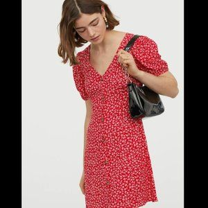 H&M Short Viscose Dress in Red Floral